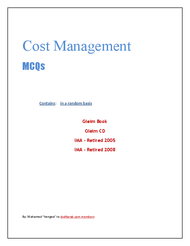 PDF) Cost Management MCQs Contains: in a random basis