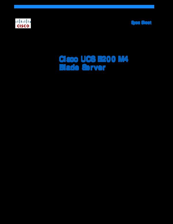 PDF) Cisco UCS B200 M4 Blade Server Cisco UCS B200 M4 Blade