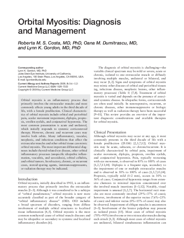 Pdf Orbital Myositis Diagnosis And Management Lynn