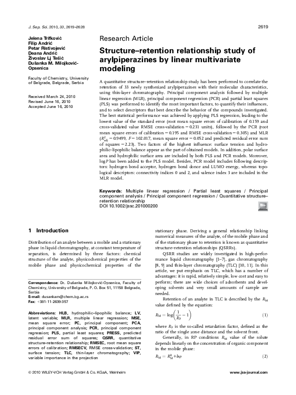 PDF) Structure-retention relationship study of arylpiperazines by