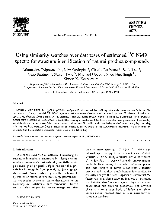 Pdf Using Similarity Searches Over Databases Of Estimated 13c Nmr