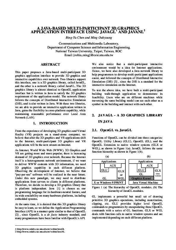 PDF) A Java-Based Multi-Participant 3D Graphics Application