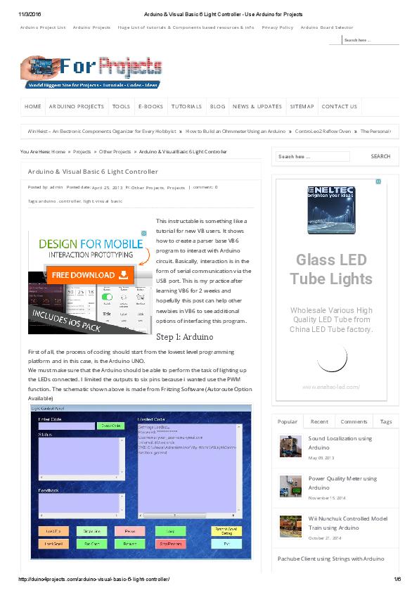 PDF) Arduino & Visual Basic 6 Light Controller | HANNACHI