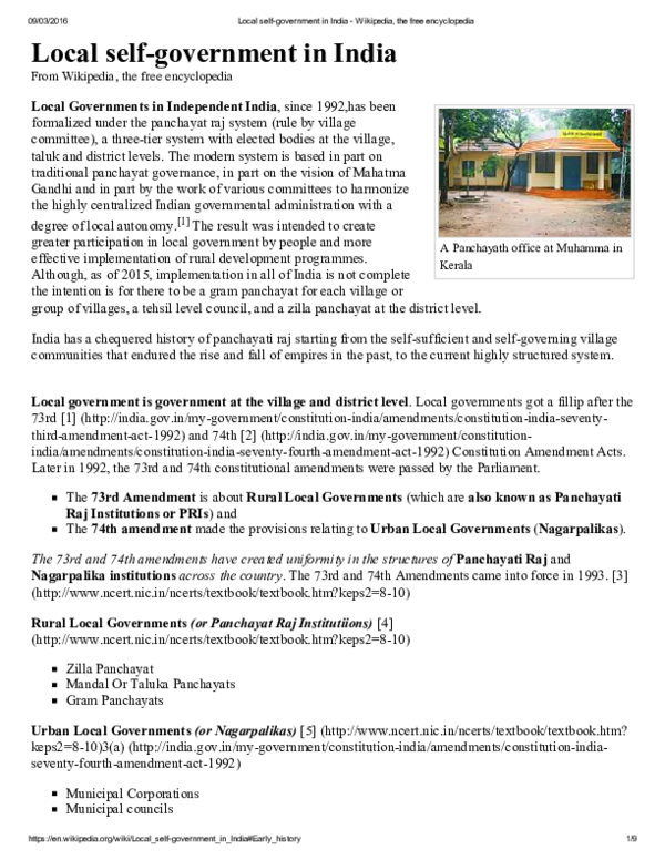 PDF) Local selfgovernment in India | Mahendra Singh