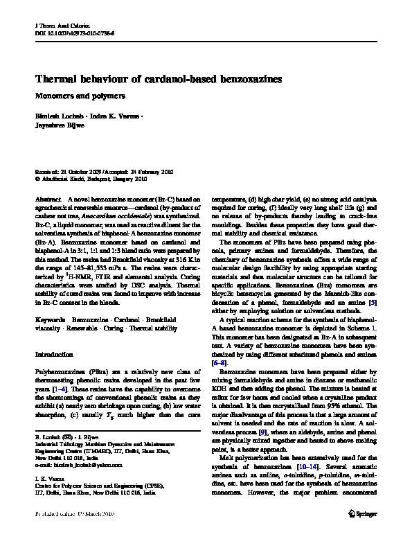 PDF) Thermal behaviour of cardanol-based benzoxazines