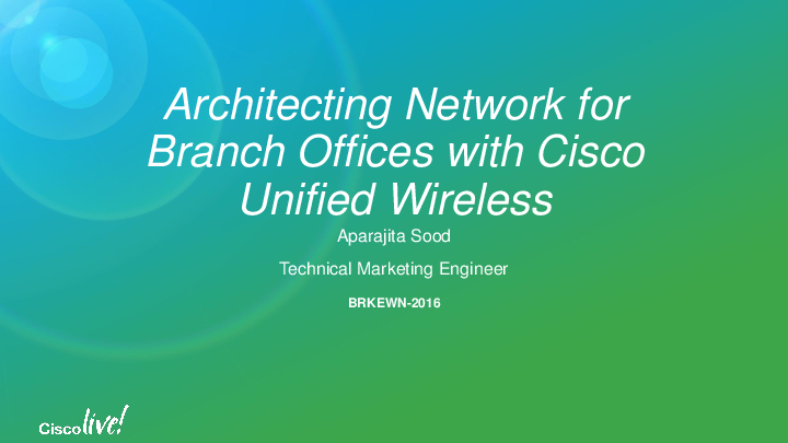PDF) Architecting Network for Branch Offices with Cisco Unified