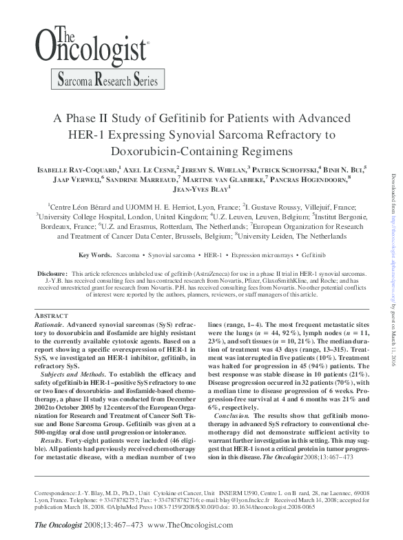 PDF) A Phase II Study of Gefitinib for Patients with Advanced HER-1