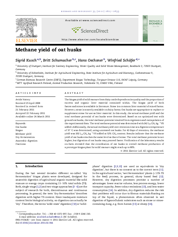 PDF) Methane yield of oat husks | Sigrid Kusch-Brandt