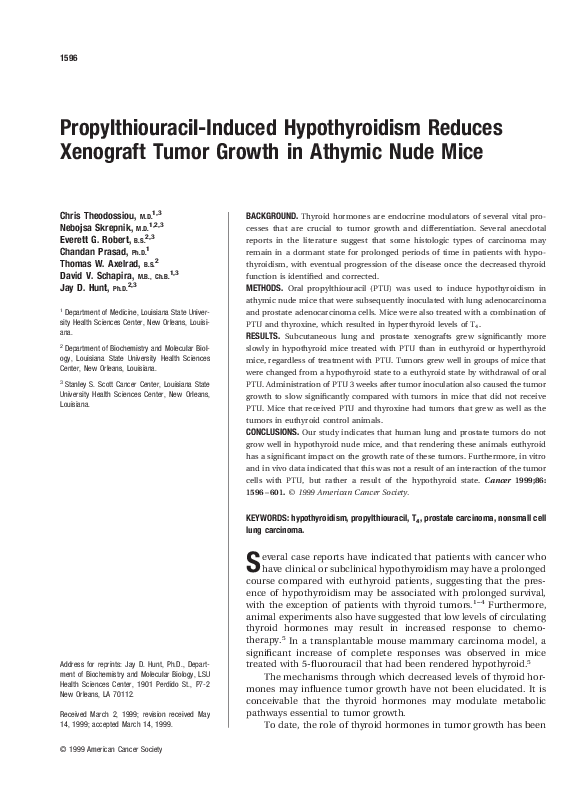 PDF) Propylthiouracil-induced hypothyroidism reduces