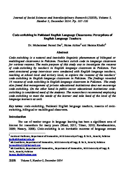 PDF) Code-switching in Pakistani English Language Classrooms