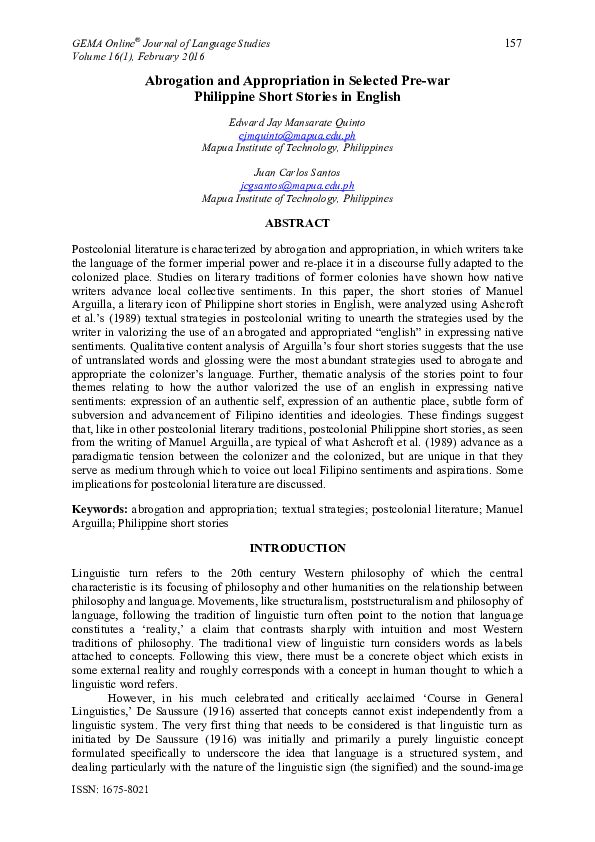PDF) Abrogation and Appropriation in Selected Pre-war Philippine