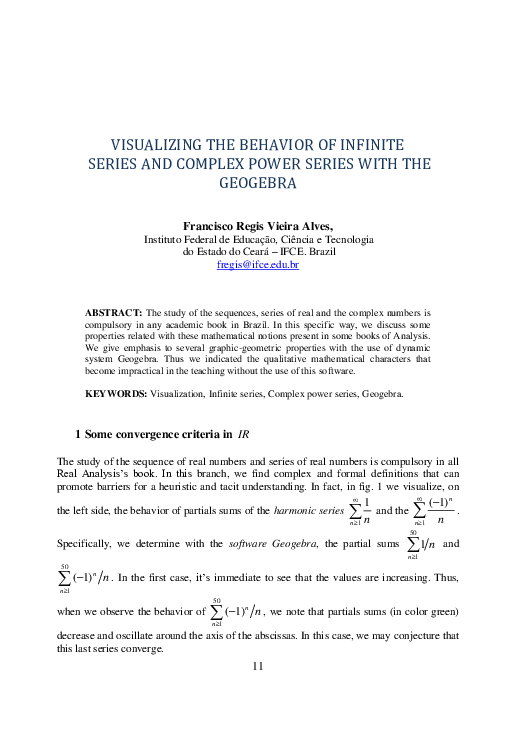 PDF) VISUALIZING THE BEHAVIOR OF INFINITE SERIES AND COMPLEX