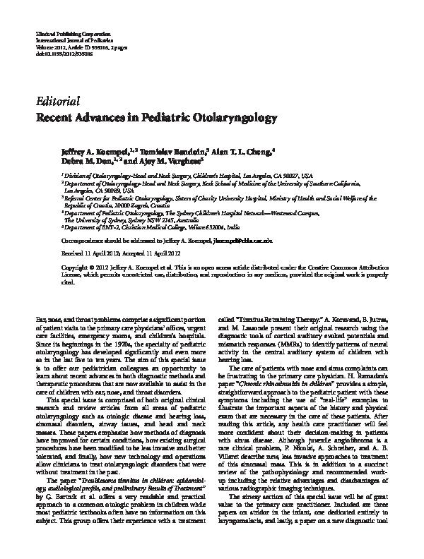 PDF) Recent advances in pediatric otolaryngology   Jeffrey