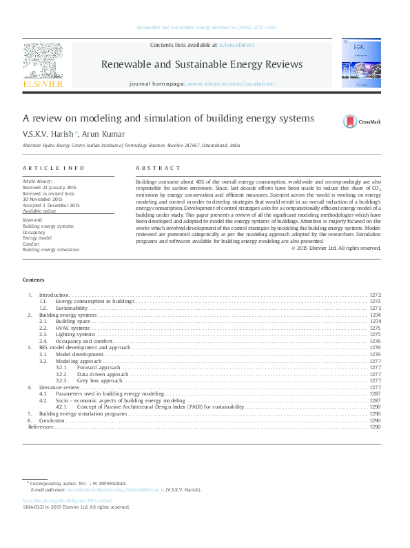 PDF) A review on modeling and simulation of building energy systems
