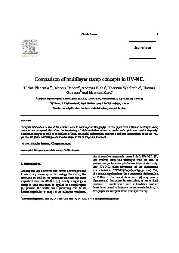 PDF) Comparison of multilayer stamp concepts in UV–NIL   Thorsten