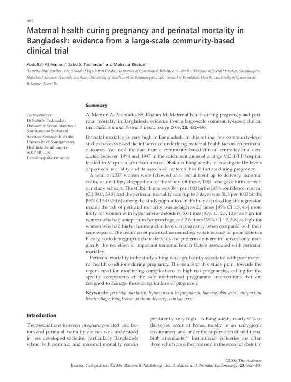 PDF) Maternal health during pregnancy and perinatal