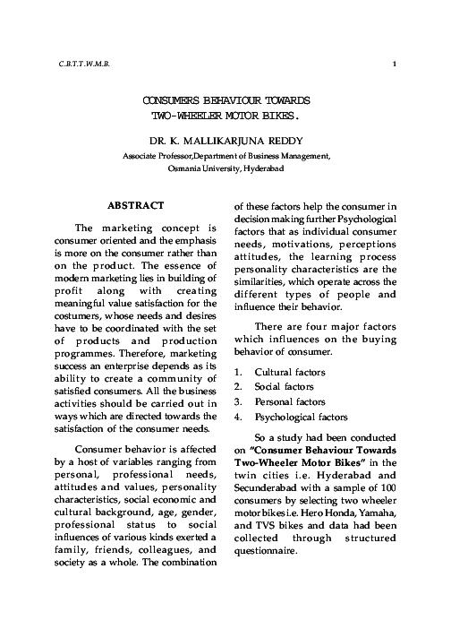 PDF) CONSUMERS BEHAVIOUR TOWARDS TWO-WHEELER MOTOR BIKES | Nilesh