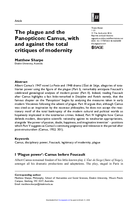 PDF) The plague and the Panopticon: Camus, with and against