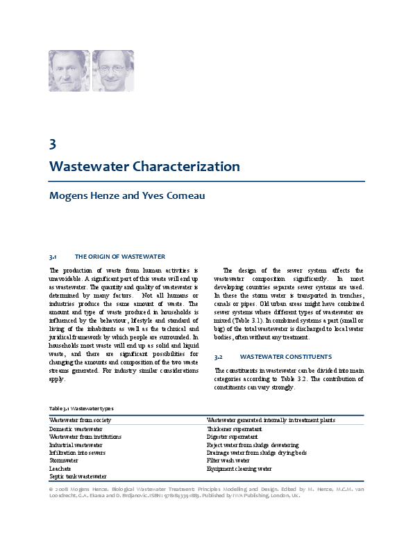 PDF) 3 Wastewater Characterization Mogens Henze and Yves