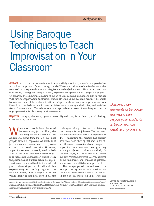 PDF) Using Baroque Techniques to Teach Improvisation in Your