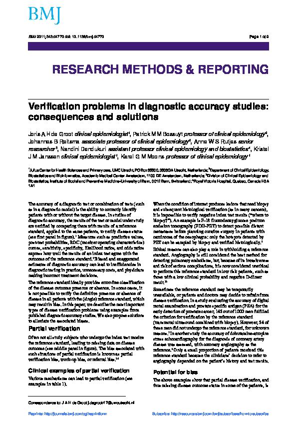 PDF) Verification problems in diagnostic accuracy studies