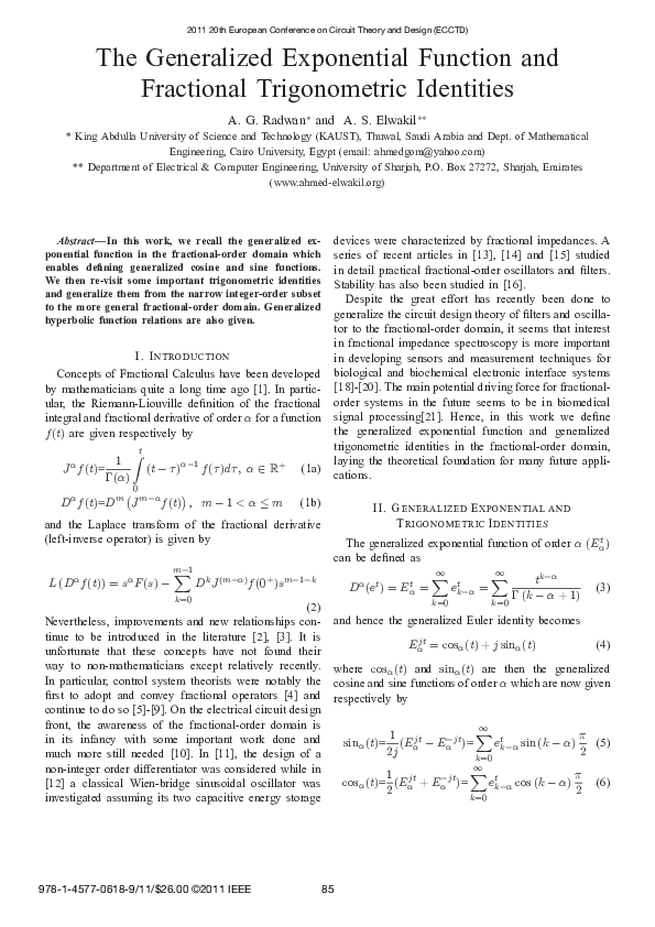 PDF) The generalized exponential function and fractional