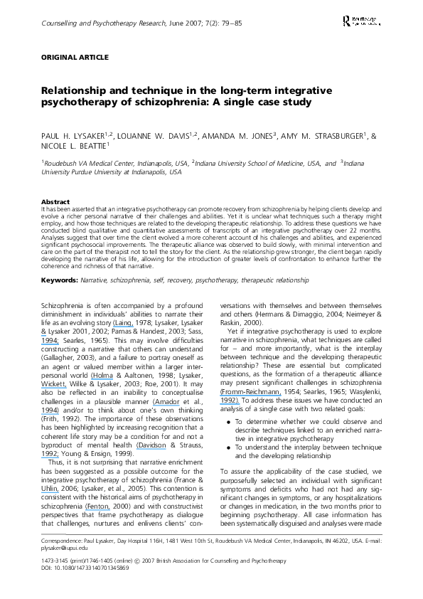 PDF) Relationship and technique in the long-term integrative