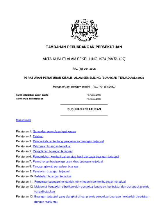 Pdf Peraturan Kualiti Alam Sekeliling Buangan Terjadual 2005 P U A Anis Nabilah Academia Edu