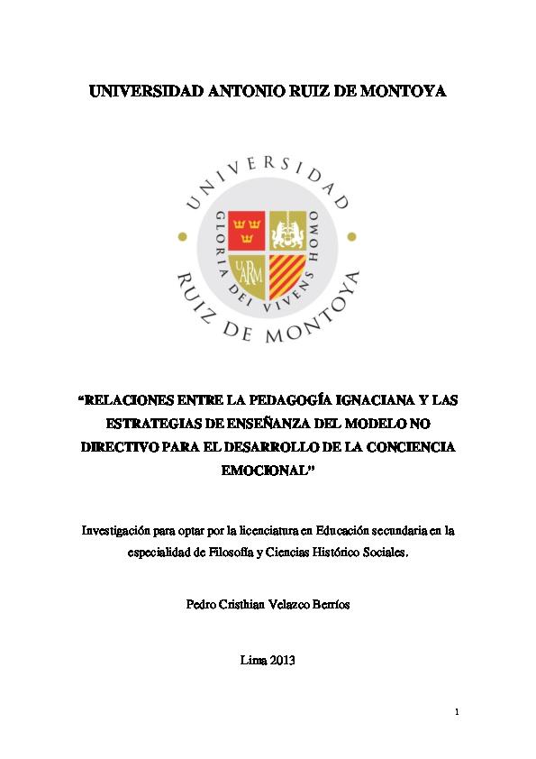 Pdf Pedagogia Ignaciana Y Conciencia Emocional 2013