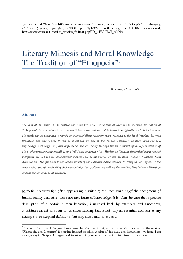 PDF Literary Mimesis And Moral Knowledge The Tradition Of