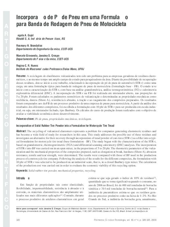 PDF) Incorporação de pó de pneu em uma formulação para banda