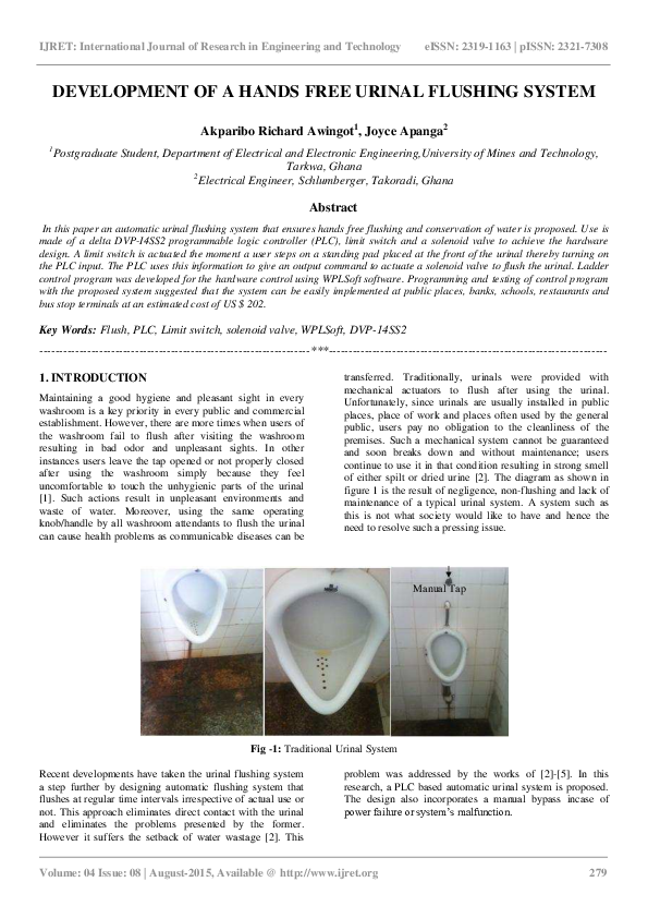 PDF) DEVELOPMENT OF A HANDS FREE URINAL FLUSHING SYSTEM