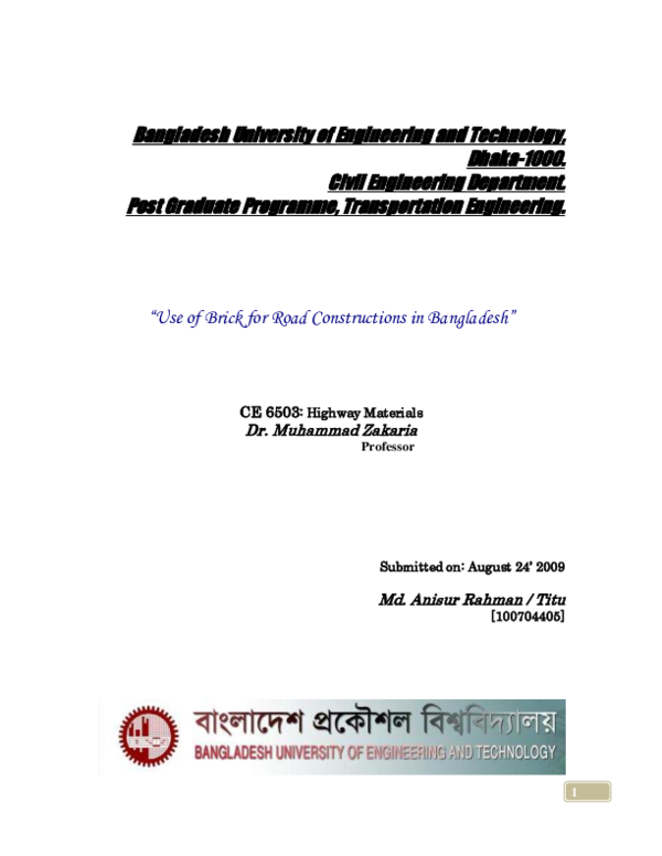 """PDF) """"Use of Brick for Road Constructions in Bangladesh"""