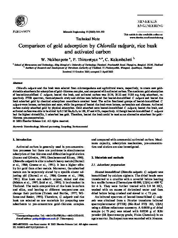 PDF) Comparison of gold adsorption by Chlorella vulgaris