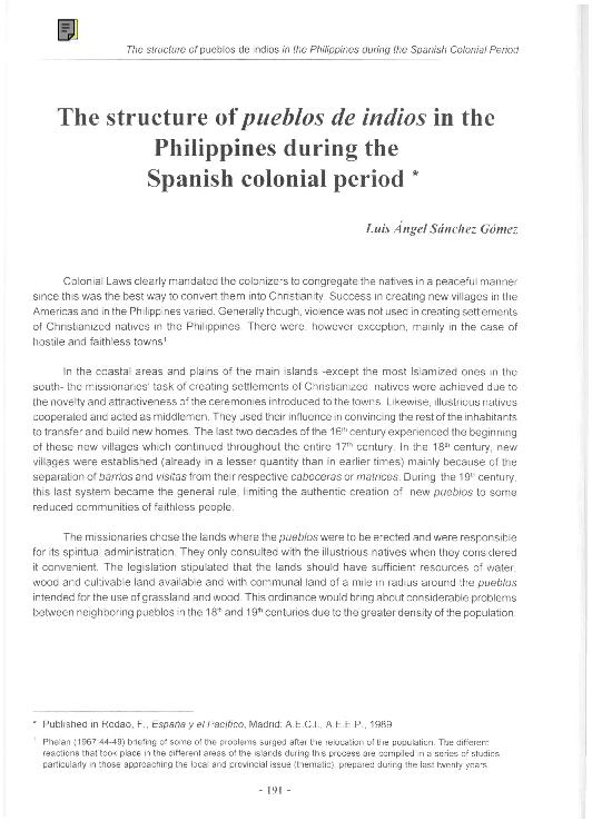 Pdf The Structure Of Pueblos De Indios In The Philippines