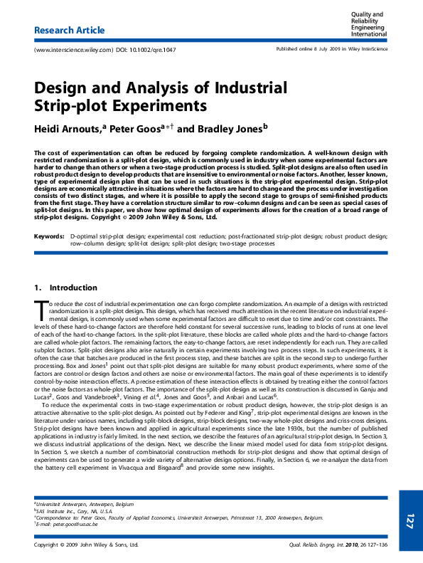 PDF) Design and analysis of industrial strip-plot