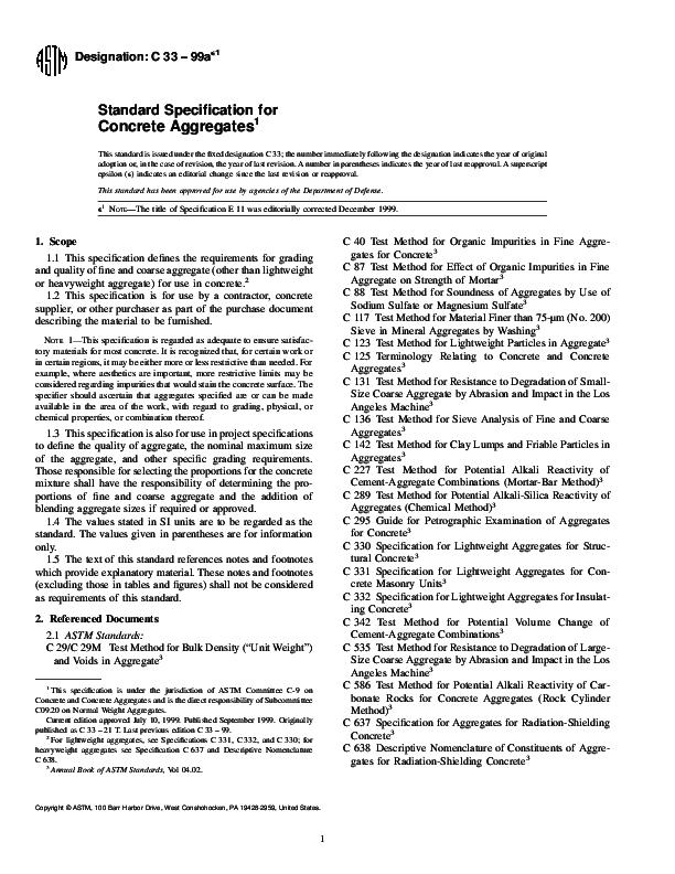 PDF) Designation: C 33 – 99a Standard Specification for