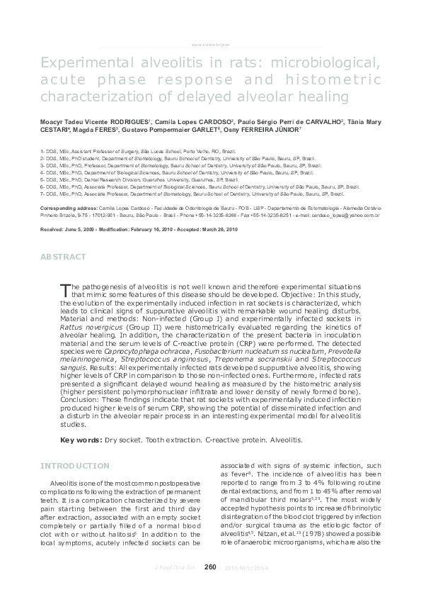 PDF) Experimental alveolitis in rats: microbiological, acute