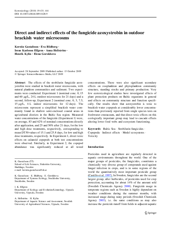 PDF) Direct and indirect effects of the fungicide