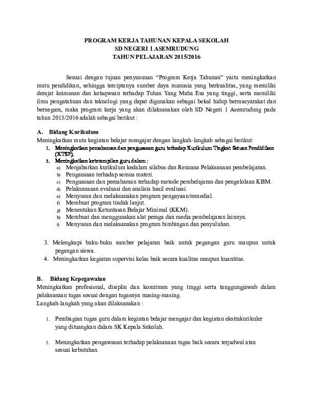 Doc Program Kerja Kepala Sekolah Tahunan Abdul Khaliq Academia Edu