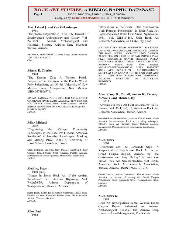 17591469c2a328 PDF) Rock Art Studies  A Bibliographic Database North America United ...