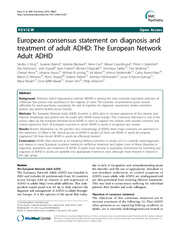 Pdf European Consensus Statement On Diagnosis And Treatment Of Adult Adhd The European Network Adult Adhd Michael Fitzgerald Academia Edu
