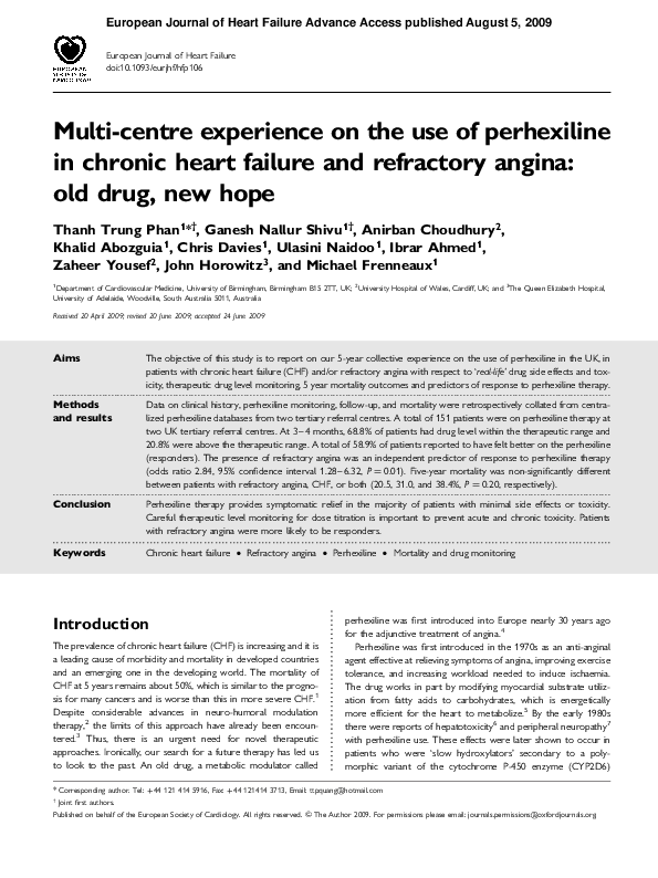PDF) Multi-centre experience on the use of perhexiline in chronic