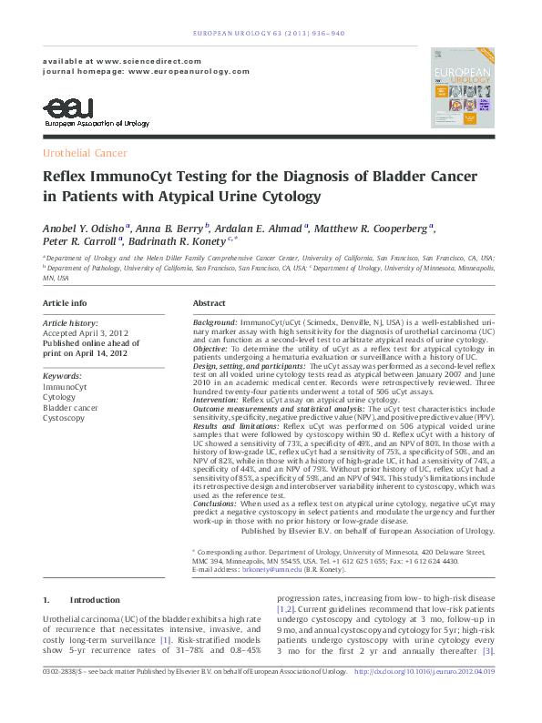 PDF) Reflex ImmunoCyt Testing for the Diagnosis of Bladder