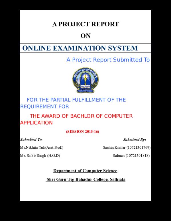 DOC) ONLINE EXAMINATION SYSTEM | Sachin Kumar - Academia edu