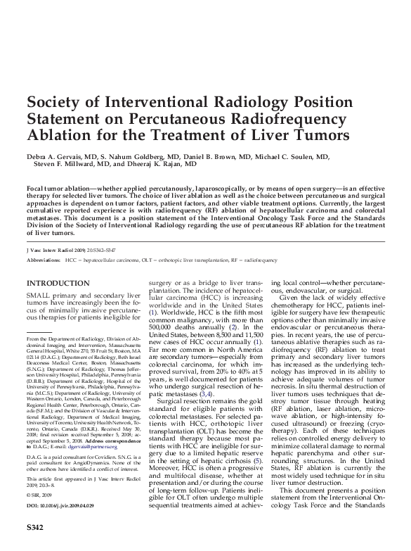 PDF) Society of Interventional Radiology Position Statement