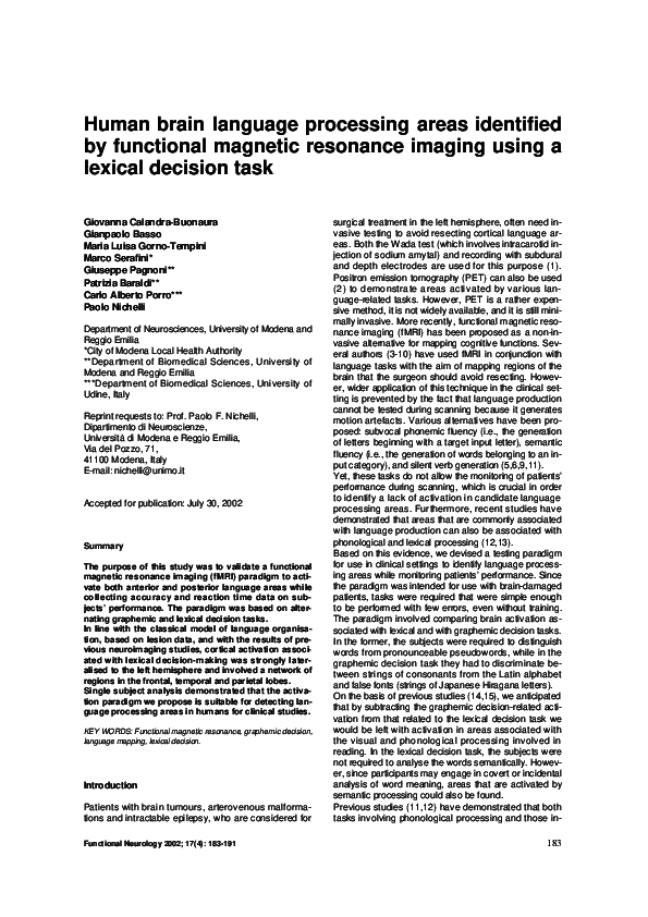PDF) Human brain language processing areas identified by