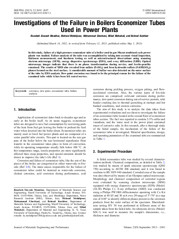 PDF) Investigations of the Failure in Boilers Economizer Tubes Used