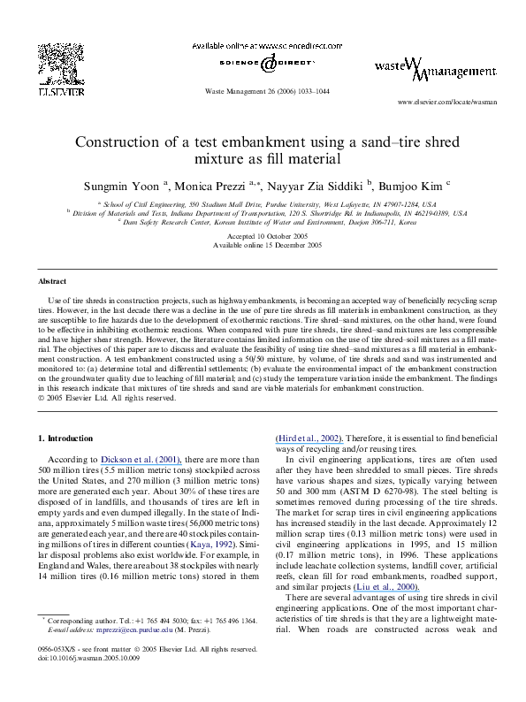 PDF) Construction of a test embankment using a sand–tire