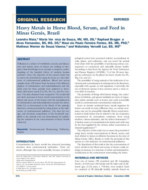 PDF) Heavy metals in horse blood, serum, and feed in Minas